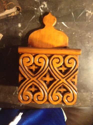 Antique Spanish Carved Wooden Recipe Box