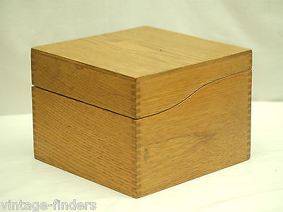 Vintage Wooden Oak File Box Index Card Holder Finger Joint Country Kitchen Tool