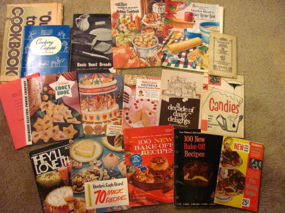 LOT Vintage Handwritten Typed Recipes Cookbooks Bake Off Recipes Cooky Carnival