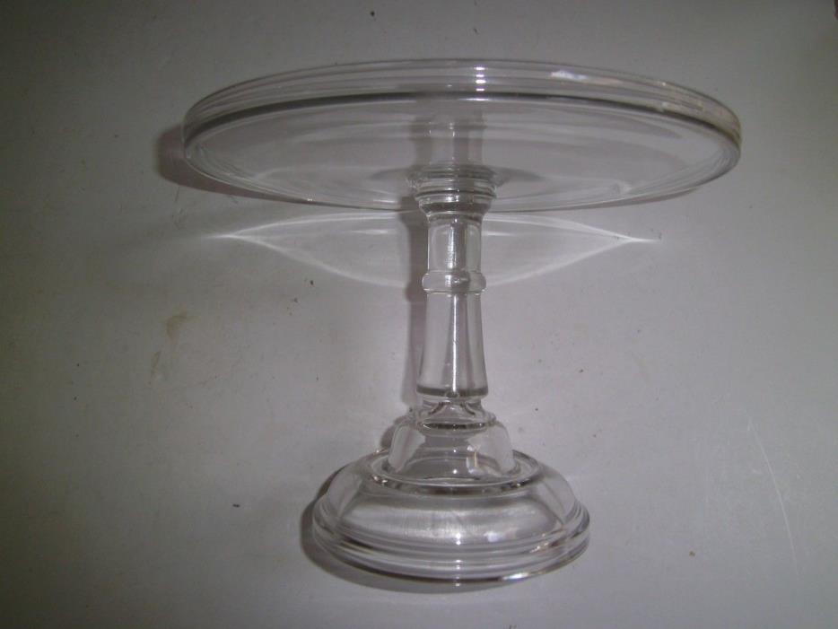 Vintage Heavy Clear Glass Cake Stand Footed Pedestal Extra Tall 8