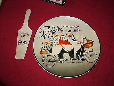 CERAMIC CAKE PLATE & SERVER PARIS CHEFS 12
