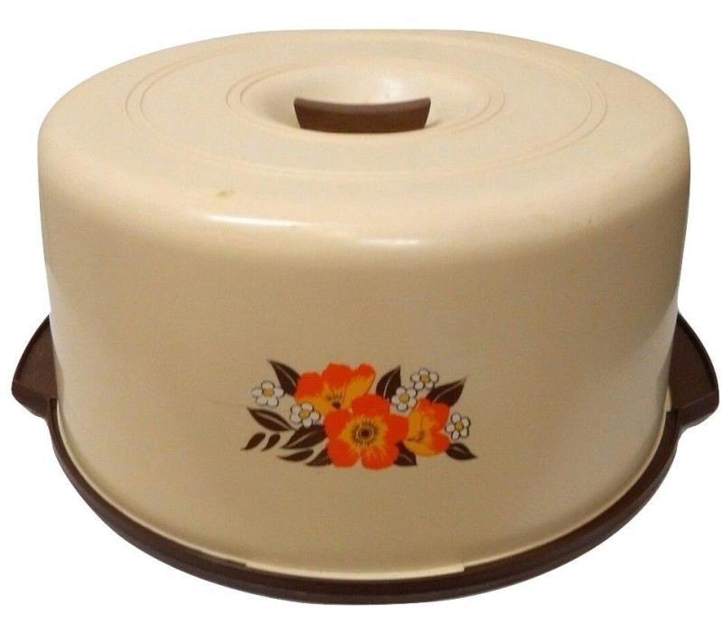 VINTAGE 1970s PLASTIC COVERED CAKE CARRIER FLORAL FLOWERS BROWN ORANGE CREAM 70s