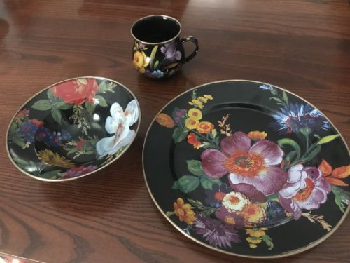 Mackenzie Childs Enamel Set- Black Flower Market