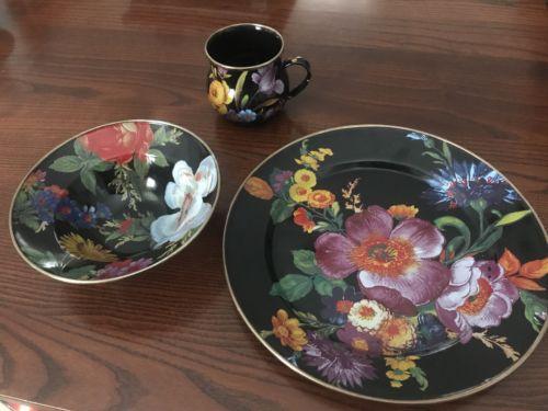 Mackenzie Childs Enamel Set- Black Flower Market