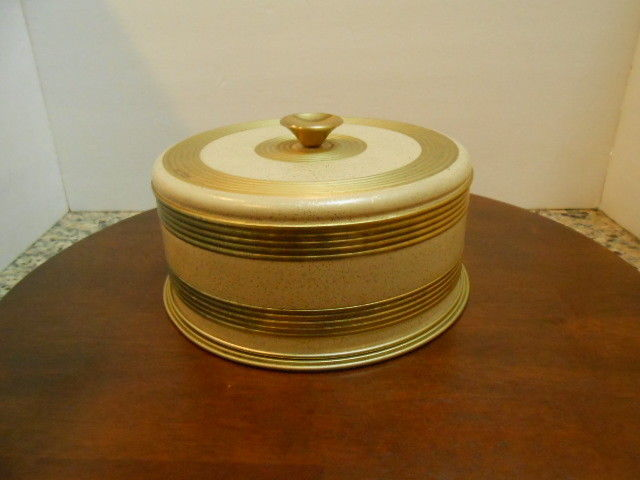 Vintage Round Gold Striped Metal Cake Carrier Pan Cover 10 1/2