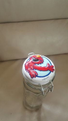 ELMO_ OCTAGON_JAR_CANISTER_w/ HINGED WIRE LID & CLOSURE Free Shipping
