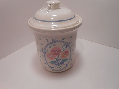 Treasure Craft Auntie Em Hallmark Pansies Pattern Canister w/Lid 5.5