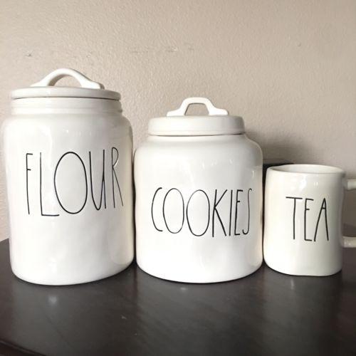 Rae Dunn Cookies Canister Flour Tea Mug Bundle