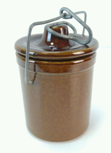 Vintage Brown Ceramic Jar w/Lid and Metal Clamp Spring, ~4