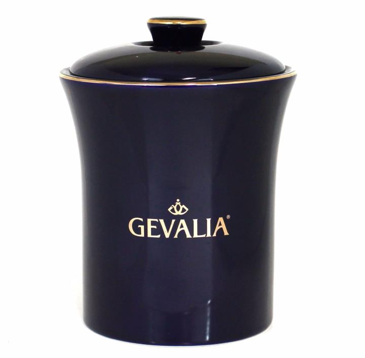 Gevalia Cobalt Blue Ceramic Canister Air Tight Coffee Gold Trim EUC