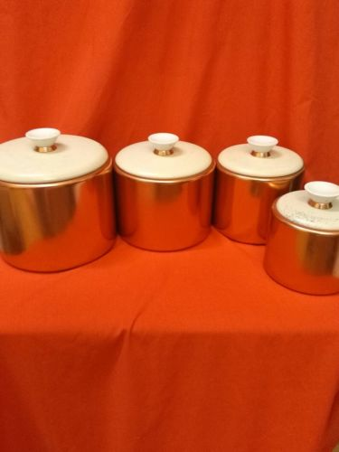 CANISTER 4 PC SET VINTAGE COPPER COLOR/WH LIDS
