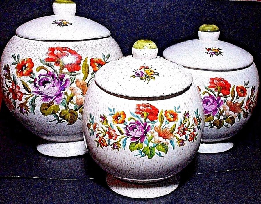 3pc Slant Ball Canister Set~Vtg Handmade Ceramic Needlepoint Flowers Speckled