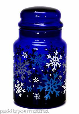 LIBBEY Cobalt Blue Glass Canister Jar with Lid Snowflakes Pattern Apothecary