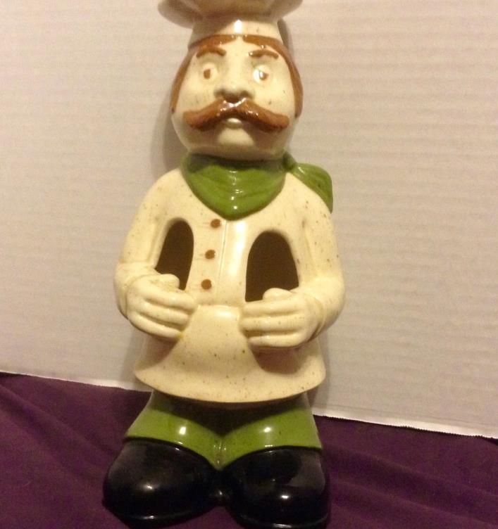 Vintage Ceramic Chef Spoon Utensil Holder Green And White