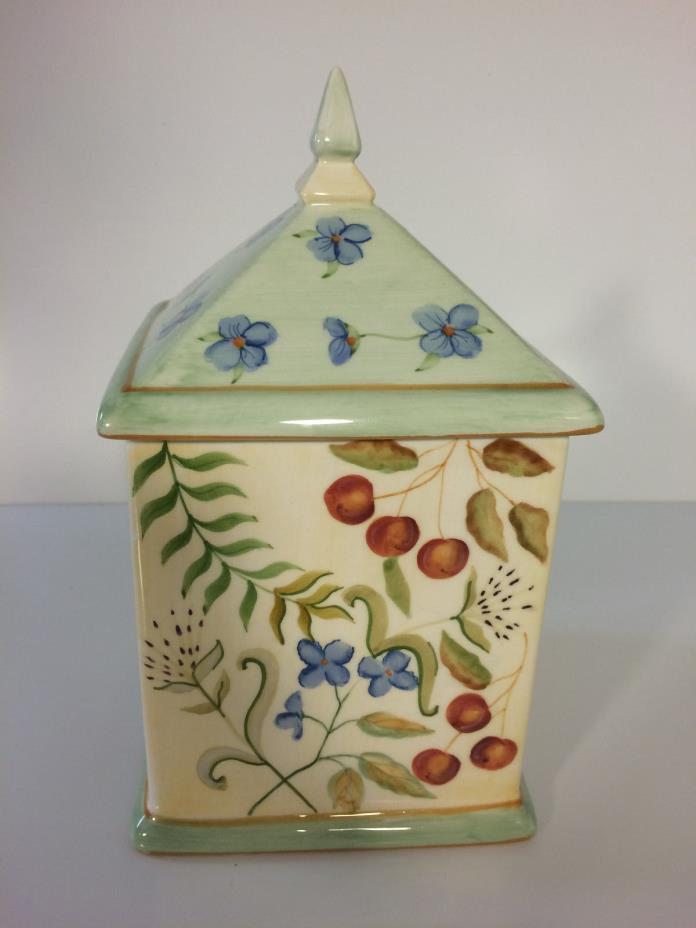 Capriware Handpainted Canister  Steeple Top Ceramic  Violets Cherries