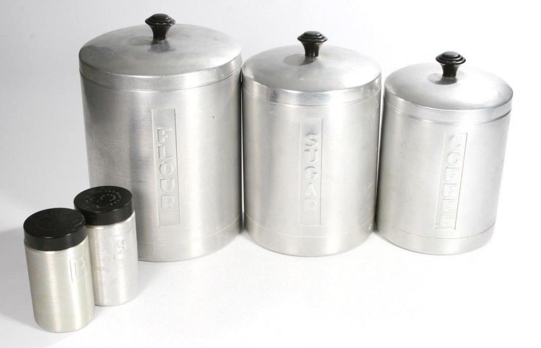 Vintage Steelmasters Aluminum Flour Sugar Coffee Salt Pepper Retro Set Italy
