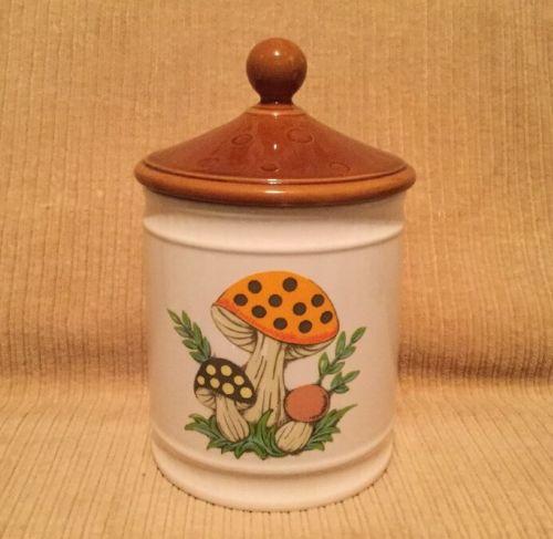 Vtg Merry Mushroom Ceramic Canister 1982 Sears Roebuck & Co. Made In Japan