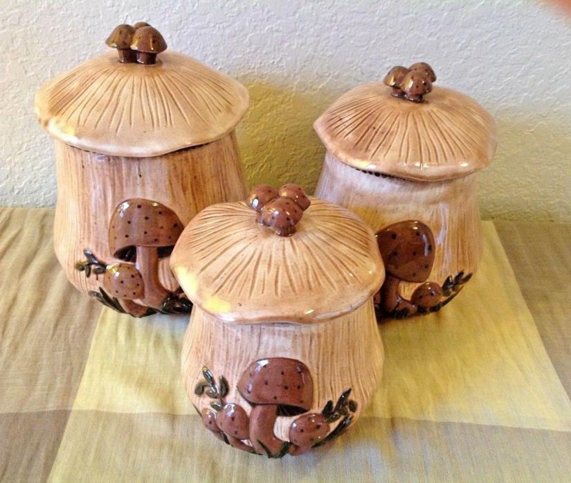 ARNEL'S~Vintage Mushroom~70's Style~Set of Three Ceramic Canister Set~EVC