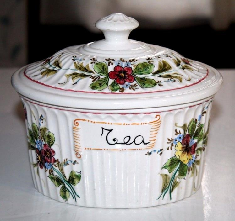 Small Porcelain Ceramic ITALY TEA CANISTER Box w/Lid Floral Red Green ~ EXCLNT