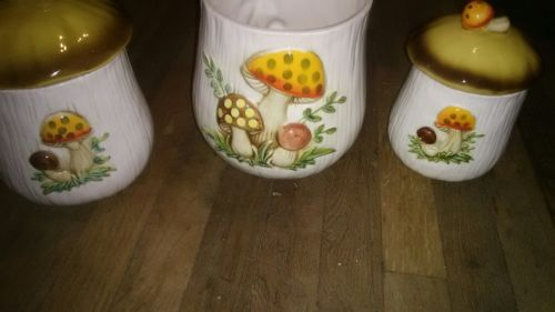 VINTAGE SEARS AND ROEBUCK CO. MERRY MUSHROOM CANISTER SET OF 3 1976