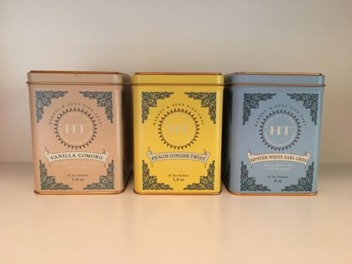 Set of 3 EMPTY Harney & Sons HT Tea Tins Containers - EXCELLENT CONDITION