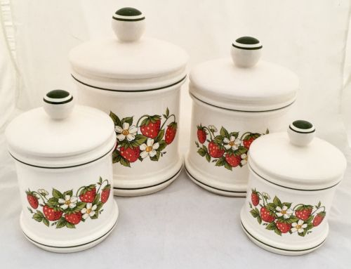 Vintage 70 Retro 4 SEARS STRAWBERRY Ceramic CANISTER SET Country Kitchen *JAPAN*