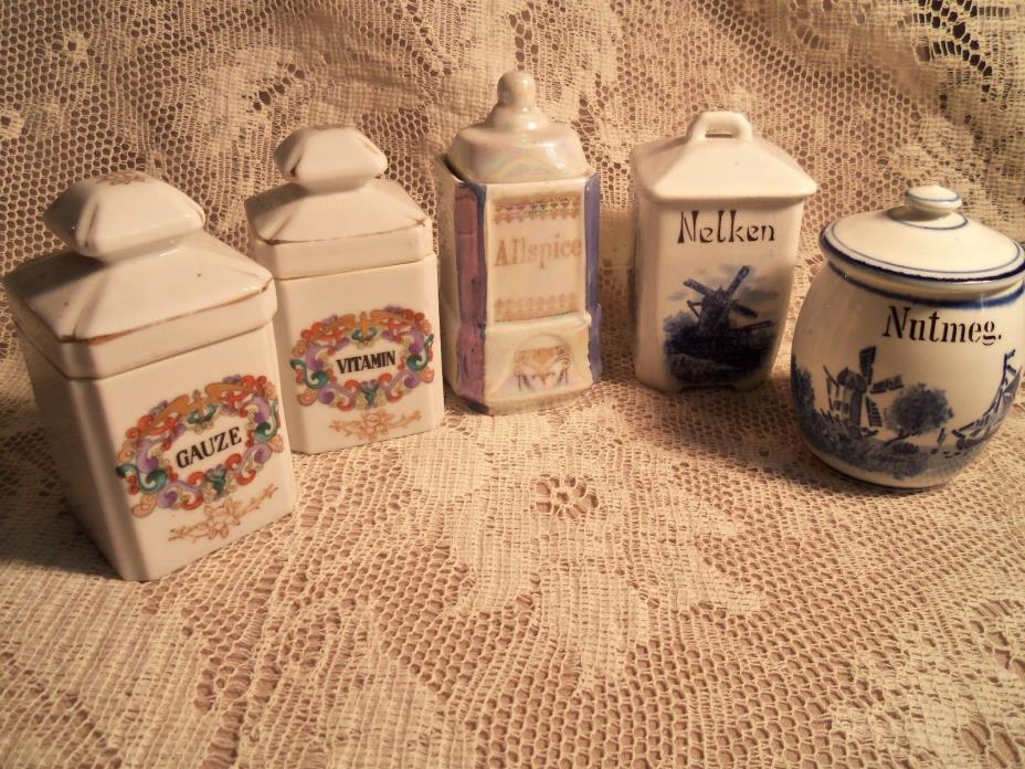 VINTAGE 5 PORCELAIN SMALL SPICE LIDDED CONTAINER JARS