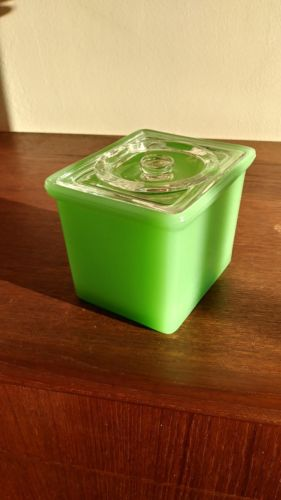 Jadite Food Storage Box With Glass Lid