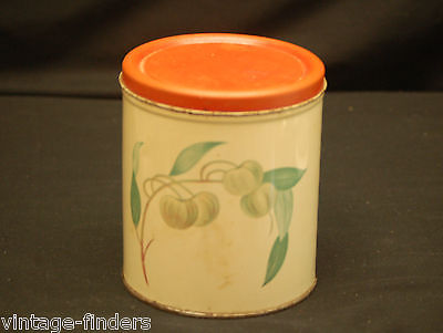 Old Vintage Decoware Metal Tin Canister Red Orange Lid Kitchen Storage Decorware