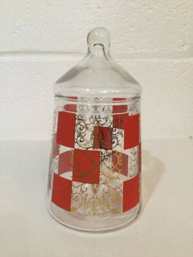 VINTAGE GLASS APOTHECARY JAR GOLD RED DESIGN CANDY Mid Century Canister