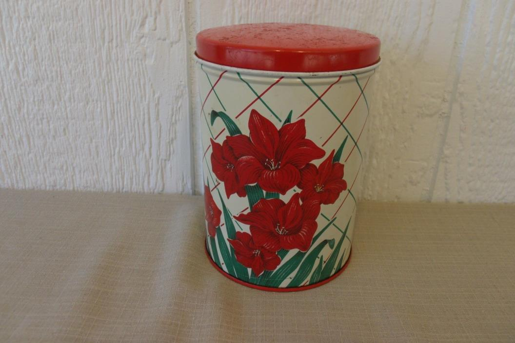 Vintage 40s/50s Decoware Tin Canister With Lid, Day Lily Criss Cross Pattern