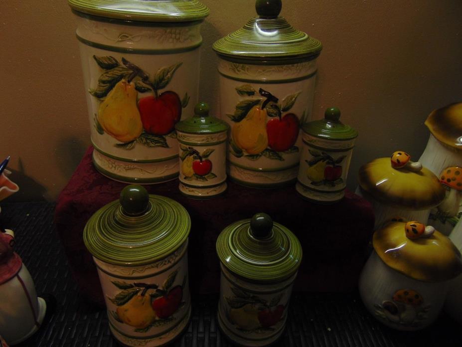 Vintage Set (10)  Ceramic PEAR/APPLE Kitchen Canisters - Mint S & P's