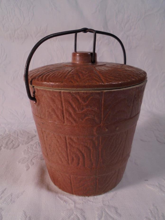 Antique Preserve Crock With Lid Embossed Wooden Barrel Design Wire Closure