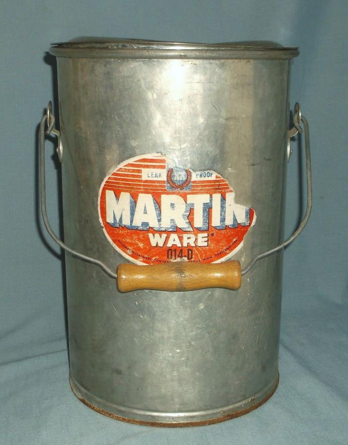 Vintage Martin Ware Large Metal Food Canister w/ Lid Bail Handle w/ Wood 014-D