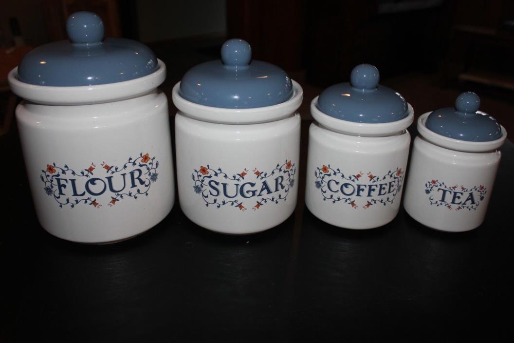 Set 4 Jay Wildflower Canisters Blue Lids Ceramic Flour Sugar Coffee Tea