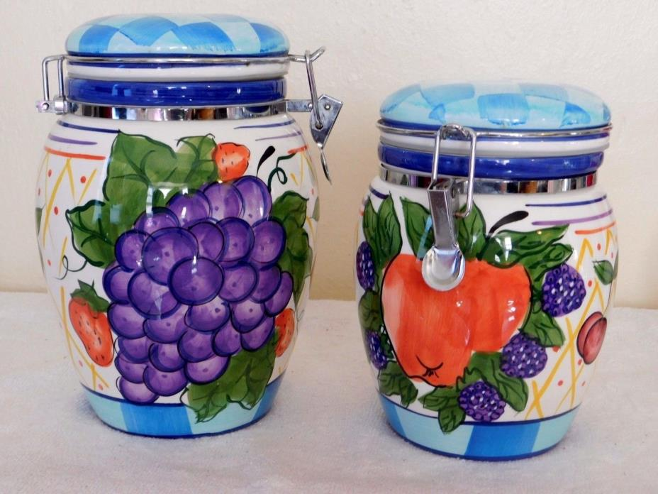 Capriware Duo Canister Set french toggle closure, Blue, Purple, Green