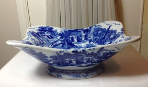 Beautiful Large Vintage Blue & White Victoria Ware Ironstone Town Scene Bowl