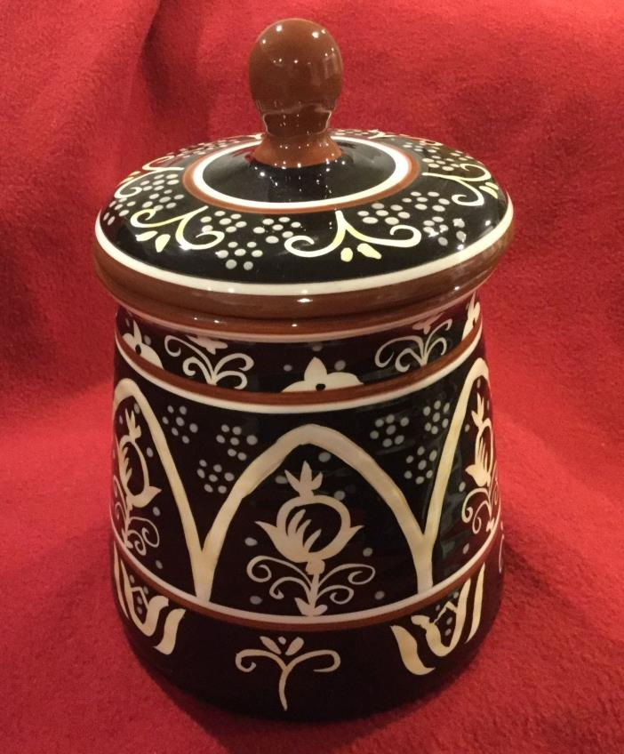 Sale BEAUTIFUL LARGE HAND CRAFTED PAINTED DARIO FARRUCCI DESIGNS LIDDED CANISTER