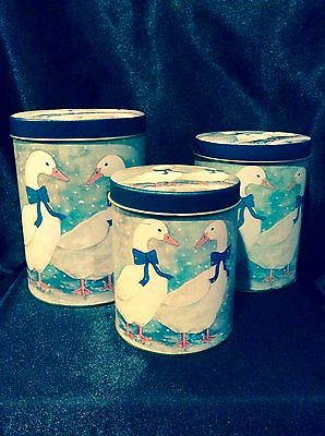 SET OF THREE DECORATIVE TINS CANISTERS WINTERY SCENE VINTAGE DUCK AND GEESE