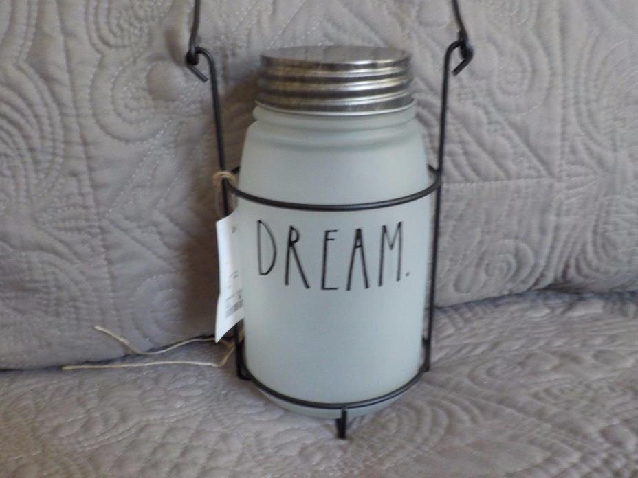 RAE DUNN Frosted Mason Jar DREAM in Wire Holder Hanging NEW