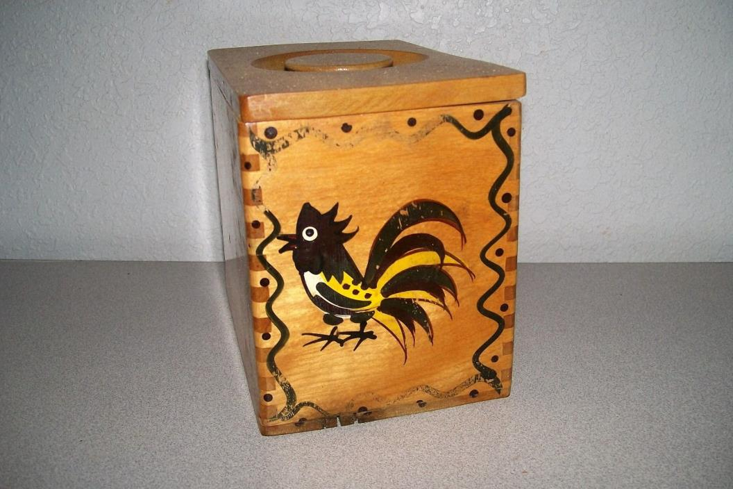 Vintage Rooster Chicken Hand Painted Wooden Box Canister 6