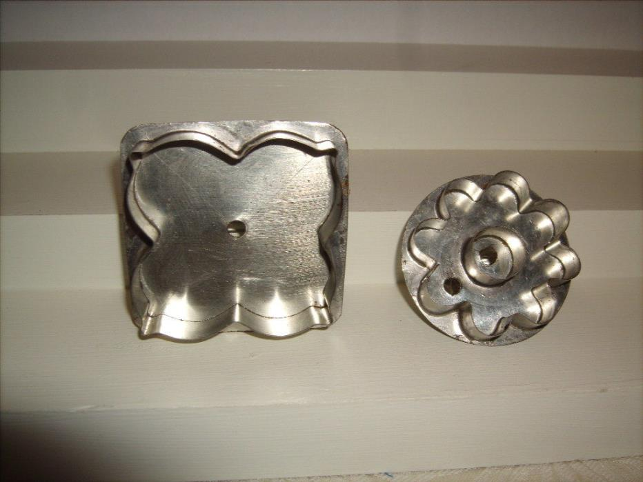 2 Vtg metal Hand made Cookie Cutters signed Dated and Numbered Gene Valasek Ohio