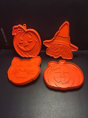 Hallmark Halloween Plastic Cookie Cutters Cat Witch 2 Pumpkins HW-6