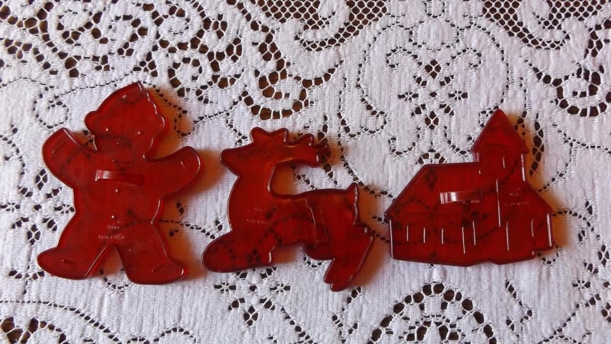 Vintage HRM Red Plastic Cookie Cutters  Gingerbread Man  Church  Reindeer