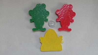 3 RONALD MCDONALD PLASTIC COOKIE CUTTERS GRIMACE  #1