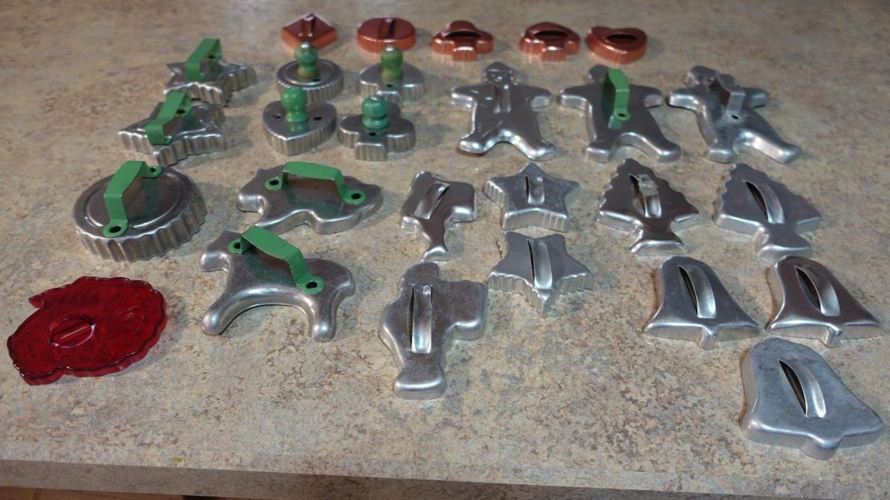 27 Vintage Cookie Cutters - Aluminum, Copper (Very Good Condition)