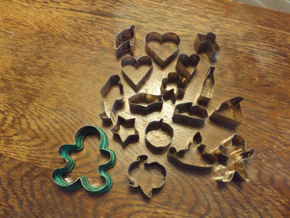 Lot of 17 Vintage Tin/Aluminum Cookie Cutters-Holiday Shapes