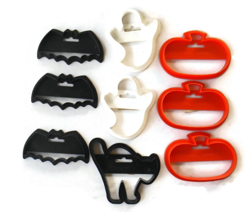 9 WILTON Cookie Cutters HALLOWEEN Plastic GHOSTS ORANGE PUMPKINS BATS BLACK CAT
