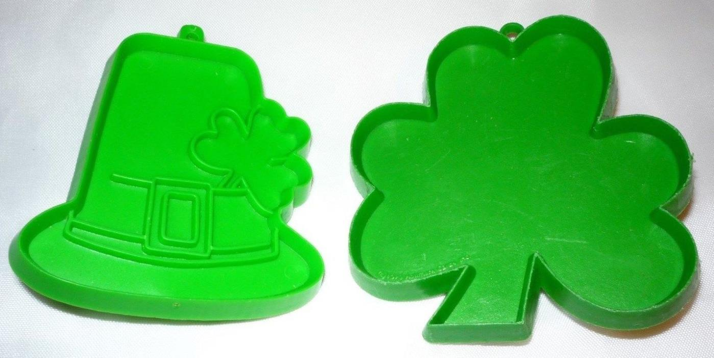 Lot of 2 Hallmark St Patricks Day Clover & Hat Cookie Cutters Green Plastic