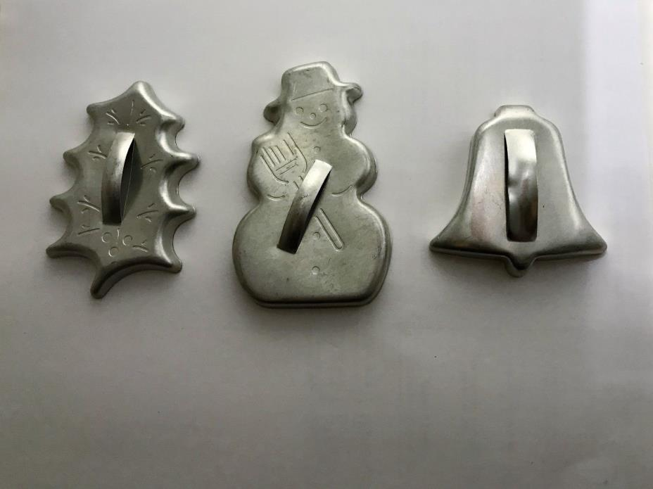 Antique Metal Christmas Cookie Cutters – Holly Leaf, Snowman, Bell all have hand